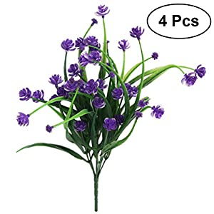 WINOMO 4pcs Artificial Daffodils Flowers Simulation Greenery Shrubs Plants Plastic Bushes Wedding Home Decor (Purple) 32