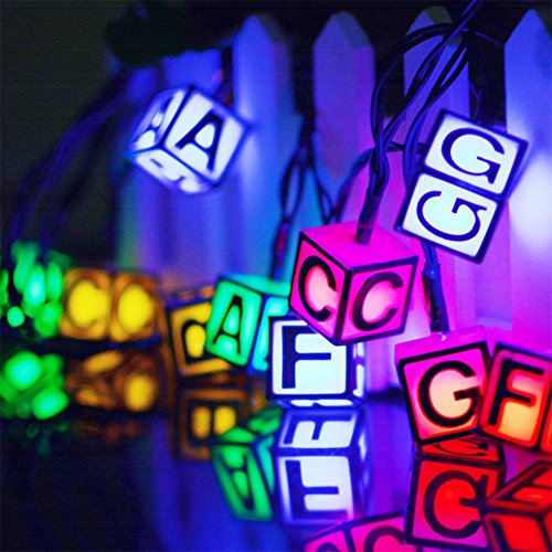 19' Outdoor Wall Lantern (Easternstar Solar Powered LED String Lights, Colorful 19 Feet 30 LEDs English Alphabet Waterproof Outdoor String for Indoor,Bedroom,Patio,Lawn,Landscape,Garden,Home,Wedding,Christmas(Multi-Color))