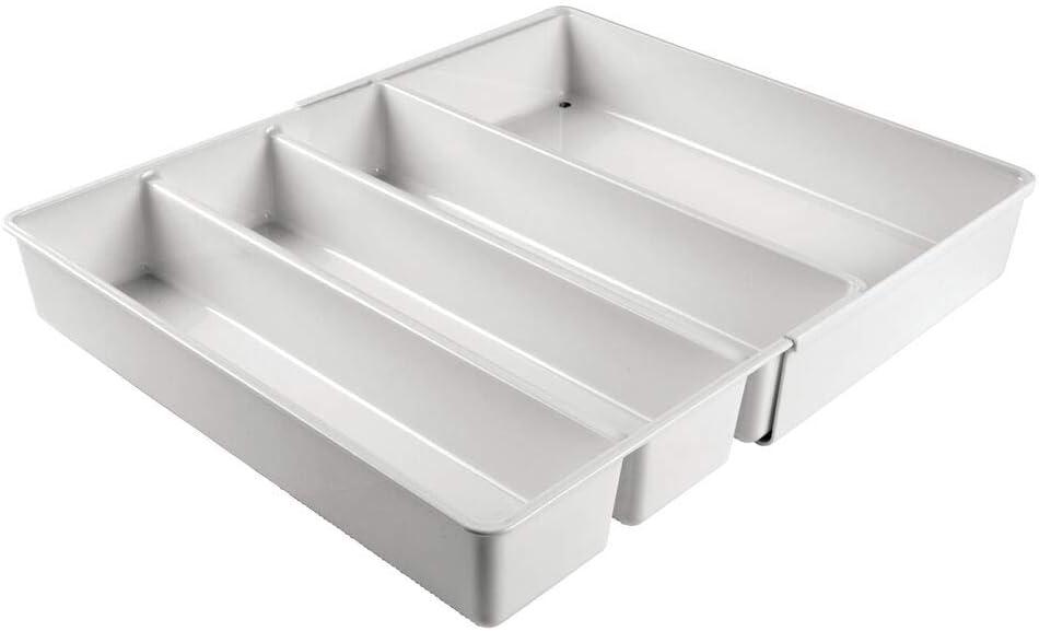 Pratico organizer ufficio con 4 scomparti Separatore cassetto in plastica senza BPA per scrivanie e cassettiere mDesign Divisorio cassetto regolabile grigio chiaro