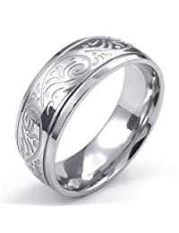 TEMEGO Jewelry Womens Stainless Steel Ring, Vintage Flower Engraved Band, Silver
