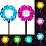 Solar Garden Lights Hydrangea Flower Color Changing Outdoor Path Landscape Decoration Walkway Pathway Decor Stakes