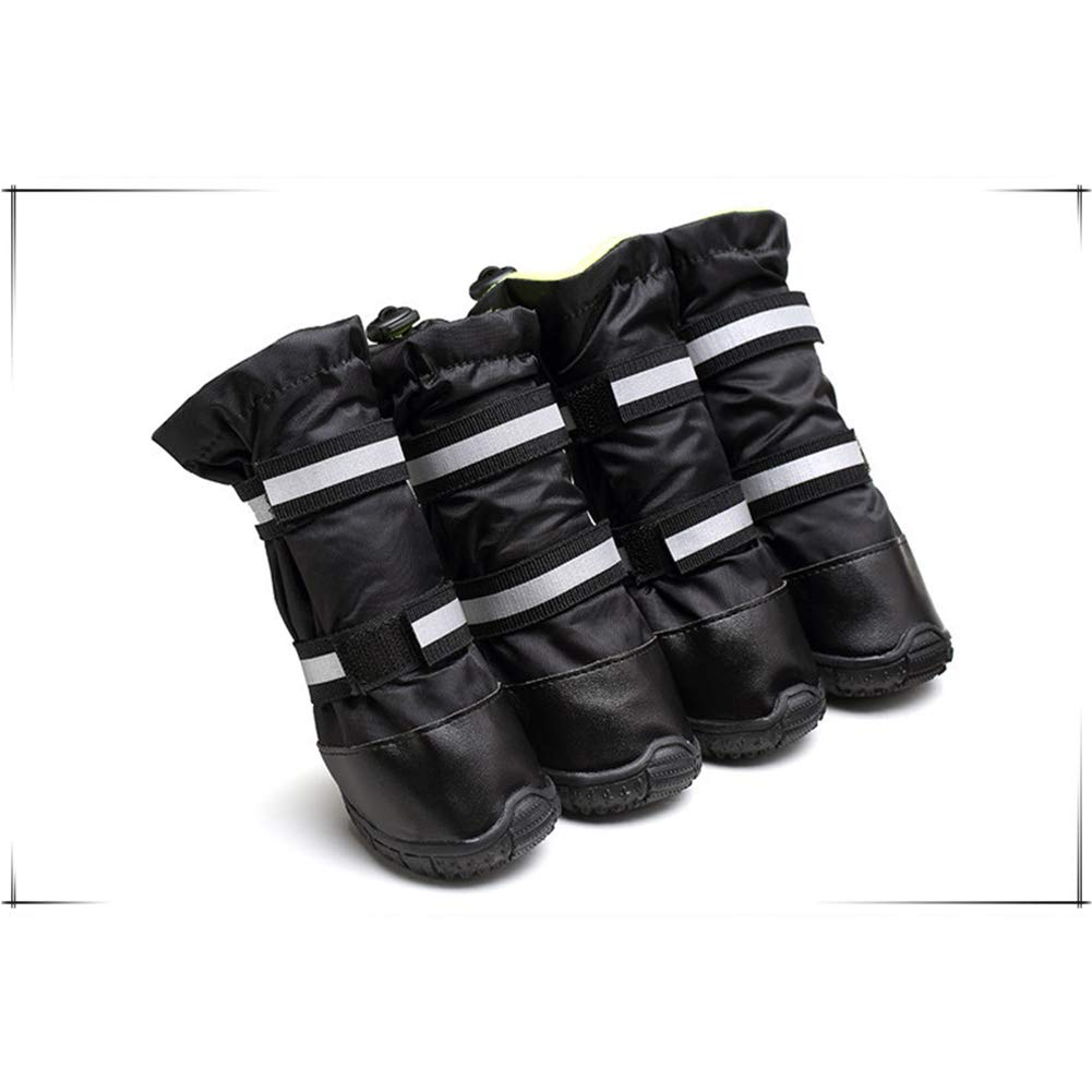Black 90 Black 90 Dog Boots Paw Predectors Waterproof Snow Pet shoes Big Dog shoes General Purpose Rain shoes Reflective Lace Dog shoes