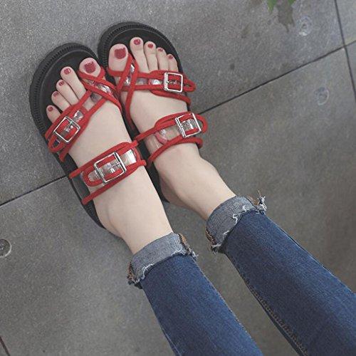 En Fond Chic Pantoufles Xy® Femme Eu36 Mode Cool Non Flop Flip 5 Plat slip cn35 Transparent Sandales uk3 Plein Clip Red Taille Adolescente Pieds Black Été couleur Air HqqaZXgw