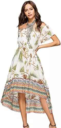 e8fc9e23a4d6 MCEDAR Women's Maxi Causal Bohemian Dress Floral Print Off Shoulder Long  Dress for Summer Beach Party