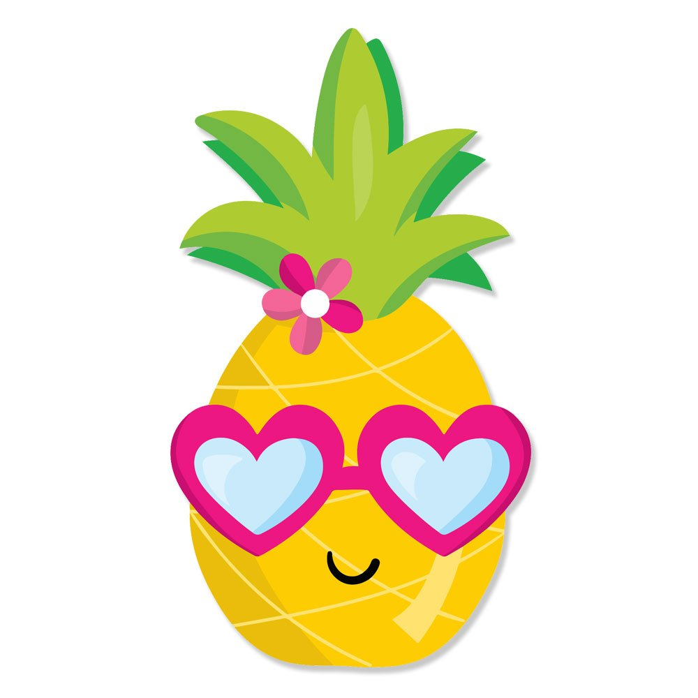 Cute Happy Pineapple Girl Head with Heart Glasses Vinyl Decal Wrap for Pressure Cooker - Full Color
