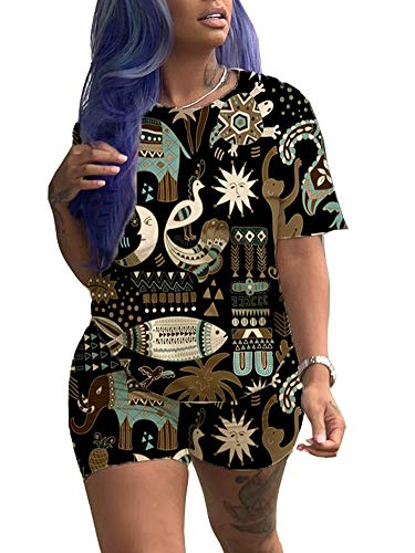Women Club 2 Piece Jumpsuit Traditional African Floral Print Short Sleeve Tops High Waisted Shorts Set Outfit Black XL