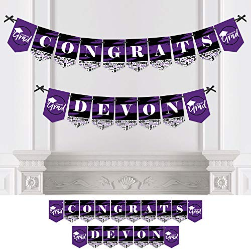 Personalized Purple Grad - Best is Yet to Come - Custom Purple 2019 Graduation Party Bunting Banner & Decorations - Congrats Custom Name Banner]()