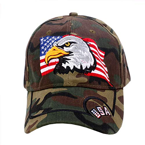 ROWILUX American Flag USA Eagle Baseball Hat Cap for Women Men Adjustable 3D Embroidered,Camo ()
