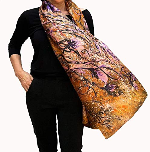 Large Silk Scarf Hand Painted and Printed Festival Wedding Shawl Oversize Gold Lilac Floral Summer Wrap Boho Fashion Designer Women Gift (Painted Silk Scarf)