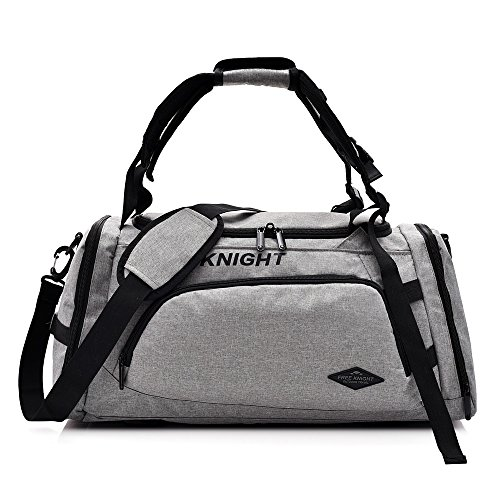 3 Way Gym Duffle Bag Waterproof Travel Weekender Bag for Men Women Duffel Bag Backpack with Shoes Compartment Overnight Bag 40L (Light Gray)