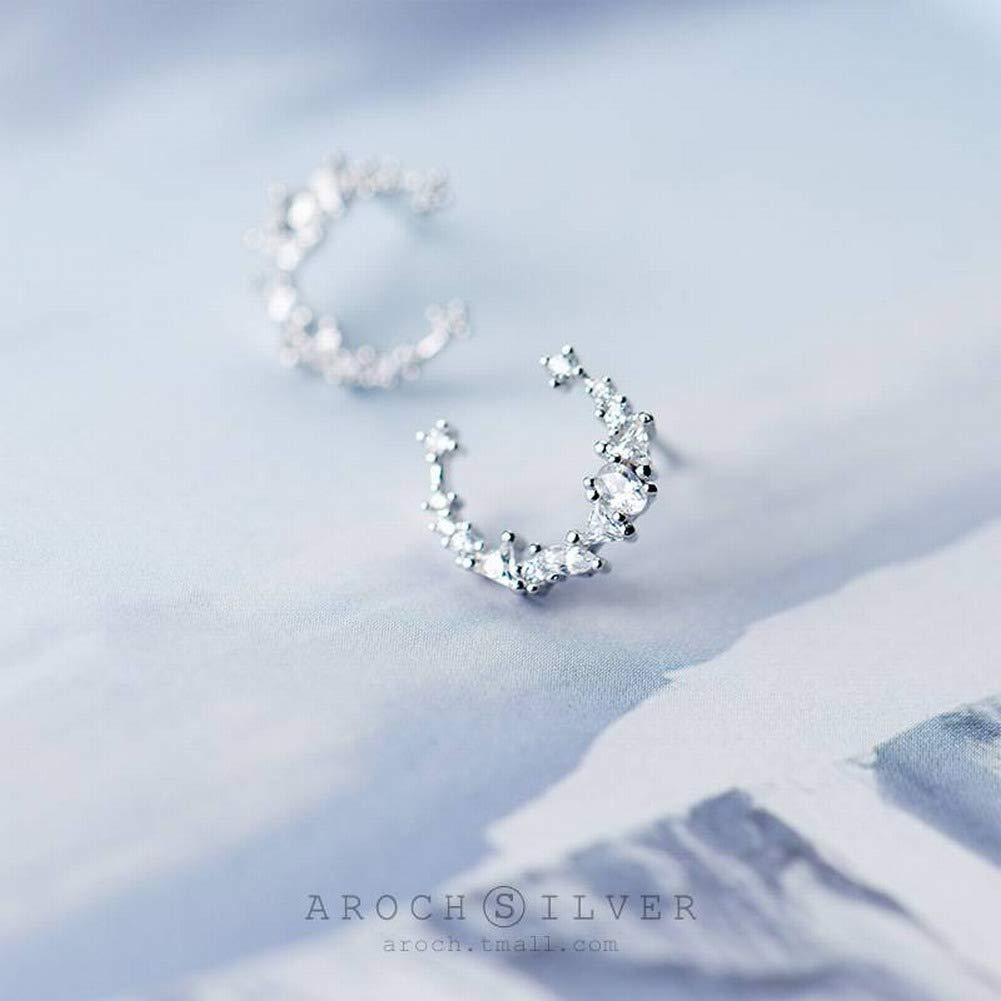 SHOUSHI Womens Western Fashion Fashion Stud Earrings S925 Silver Stud Earrings Women Fashion Diamond Moon Irregular Sweet Crescent Bay Ear Jewelry
