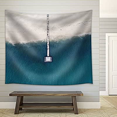 Gorgeous Picture, Bird View of Wooden Bridge Lead to The Beach Fabric Wall, Created Just For You