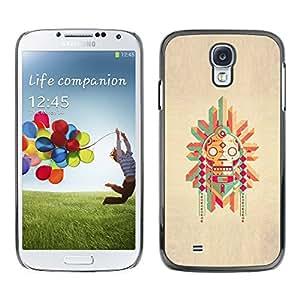 For SAMSUNG Galaxy S4 IV / i9500 / i9515 / i9505G / SGH-i337 Case , Pole Native American Drawing - Diseño Patrón Teléfono Caso Cubierta Case Bumper Duro Protección Case Cover Funda