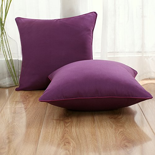 Set of 2 Solid Decorative Throw Pillow Covers Cases for Sofa Couch Bed,100 Percents Cotton Square Pillow Covers Euro Shams Cozy Soft Cushion Covers 18x18 Inch,Best for Home Décor (Eggplant) by Sunday Praise (Image #2)
