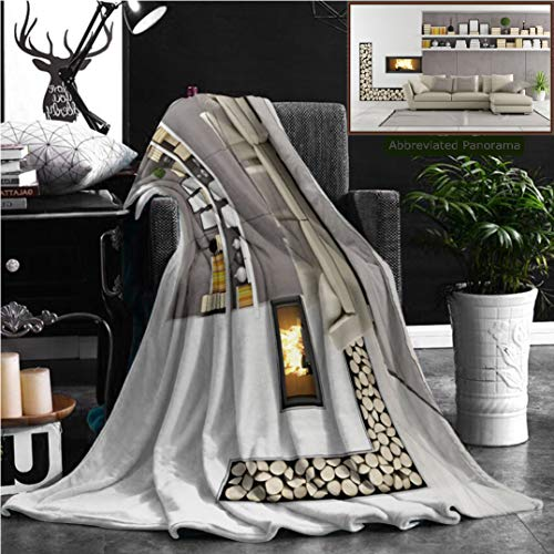 Nalagoo Unique Custom Flannel Blankets Modern Living Room With Fireplace Super Soft Blanketry for Bed Couch, Throw Blanket 70'' x 50'' by Nalagoo