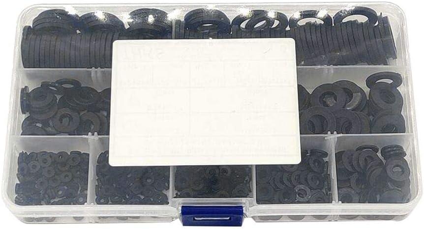 Joint en nylon 600pcs Rondelles plates Assortiment M2 M2.5 M3 M4 M5 M6 M8 M10 M12 Noir rondelles dentretoises rondes pour m/écanique