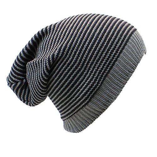 AN Baggy Beanie Hat Gray & Black Striped Knit Slouchy Cap Lightweight Soft - Lightweight Striped Cap
