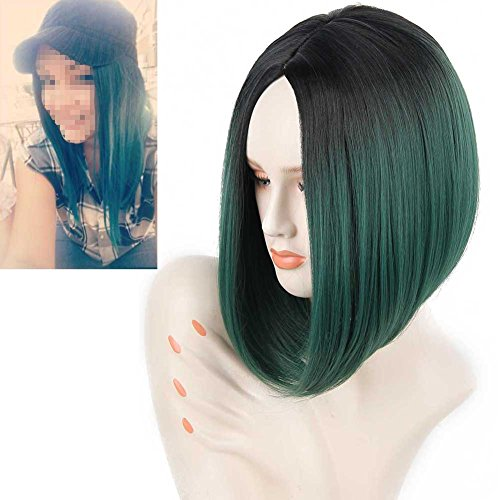 Pretty Woman Costume Makeup (RightOn 13'' Short Straight Black Ombre Forest Green Bob Wig Natural Ombre Color Middle Part Synthetic Wigs with Wig Cap)