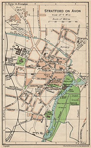 STRATFORD ON AVON Vintage town city map plan Warwickshire 1950
