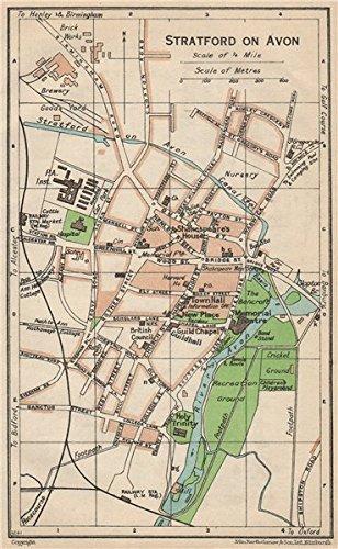 STRATFORD ON AVON Vintage Town City Map Plan Warwickshire