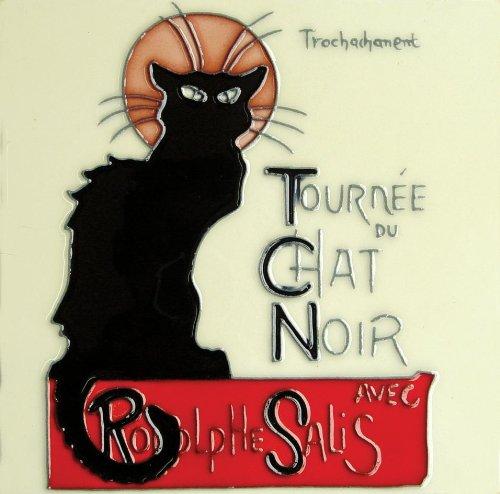 Continental Art Center BD-0136 8 by 8-Inch Chat Noir Vintage Black Cat Ceramic Art (Cat Tile Coaster)