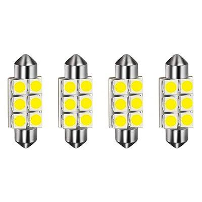 HOTSYSTEM 36mm 1.42inches Festoon Led Light Bulbs DC12V 6000K 6418, 6411, 6413, C5W, DE3423, DE3425 for Interior Dome Map Door Courtesy License Plate Trunk Glove Box Side Marker Lights (white,pack-4): Automotive [5Bkhe2011485]