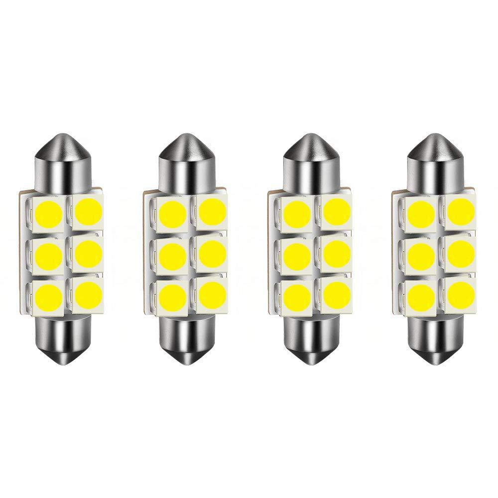 HOTSYSTEM 29mm Fuse Festoon Sun Visor Vanity Mirror LED Light Bulbs DC12V 5050-3SMD 6614F TS-14V1CP Interior Replacement Lights for Car (white, pack-10)