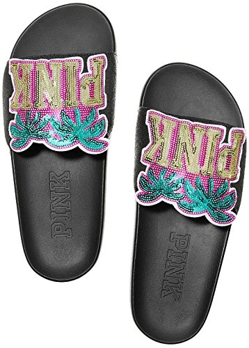 VICTORIA SECRET PINK BLING SEQUENCED PALM TREE SLIDES SIZE LARGE ( 9 - 10 ) - FLIP FLOPS - RARE - LIMITED QUANITIES - SOLD OUT (Victoria Secret Sizes)