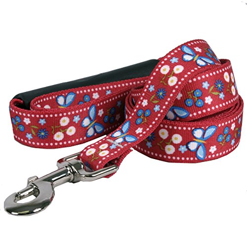 Yellow Dog Design Festive Butterfly Red EZ-Grip Dog Leash with Comfort Handle, Small/Medium