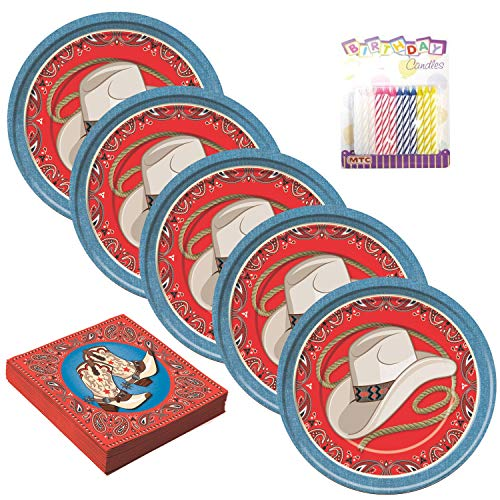 Western Party Supplies Pack Serves 16: Dinner Plates and Luncheon Napkins with Birthday Candles (Bundle for 16) -