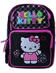 Hello Kitty Large Black Embroidered Backpack