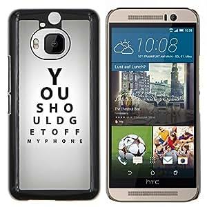 Stuss Case / Funda Carcasa protectora - Optometrista Cita Eye Test Gris Negro - HTC One M9+ M9 Plus