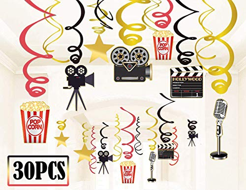 30Ct Movie Night Party Decorations Hanging Swirls - Hollywood Movie Theater Themed Bridal Shower/Birthday Party Supplies Film Backdrop ()