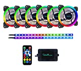 Apevia SP612L2S-RGB Spectra 120mm Silent Dual Ring Addressable RGB Color Changing LED Fan with Remote Control, 16X LEDs & 8X Anti-Vibration Rubber Pads w/ 2 Magnetic Addressable LED Strips (6+2-PK)