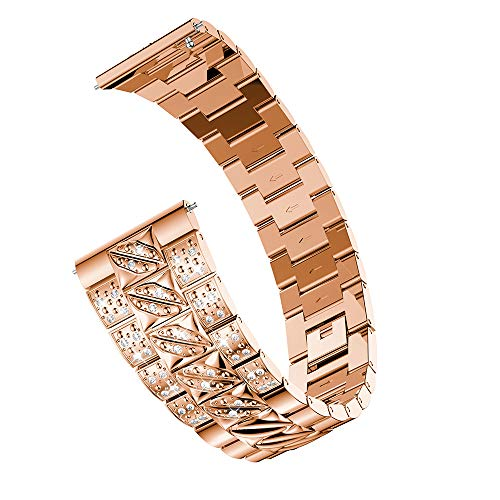 - NXDA Compatible For Samsung Galaxy Watch 46mm,Luxury Metal Crystal Diamond-encrusted Watch Strap Wrist Band (Rose Gold)
