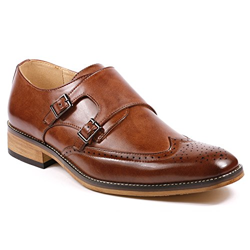 Metrocharm MC104 Men's Double Monk Strap Wing Tip Perforated Slip On Loafers Dress Shoes (10.5, - Double Wingtip