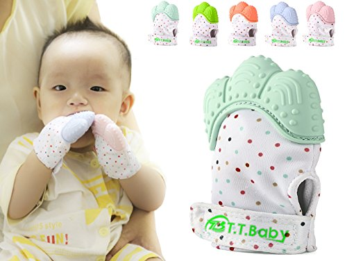 Baby Teething Mitten for Babies Self-Soothing Pain Relief and Teething Glove BPA FREE Safe Food Grade Teething Mitt (Light Green)