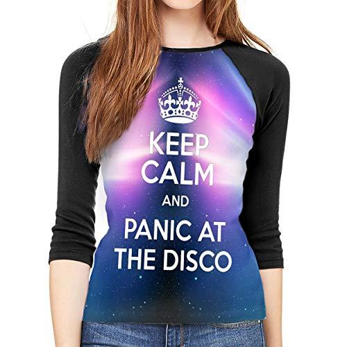 Gltiosr Panic at The Disco Crew Neck 3/4 Sleeve Jersey Shirt Baseball Tee Raglan T-Shirts S Black