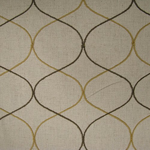 Oatmeal Mustard Moroccan Pattern on Linen Canvas Fabric ()