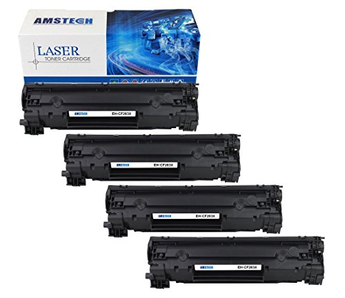 4Pack Amstech 2,400 Pages High Yield Compatible Black Toner Cartridge Replacement For HP 83X CF283X CF283 For Printers HP LaserJet Pro MFP M225 M225dn M225dw, LaserJet Pro M201 M201n M202 M202dw