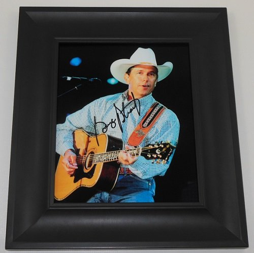 george-strait-strait-from-the-heart-signed-autographed-8x10-glossy-photo-gallery-framed-loa