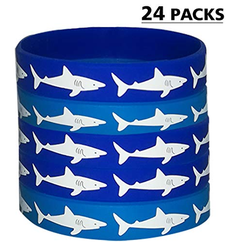Shark Party Favors Rubber Bracelets - Under the Sea/Baby Shark Birthday Party Supplies Goodie Bag Stuffers Fillers Slicone Wristbands -