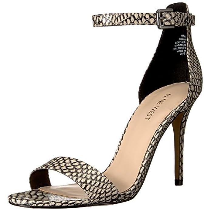 Sandalo Con Tacco Sintetico Mana Da Donna Nero Bianco 9 M Us