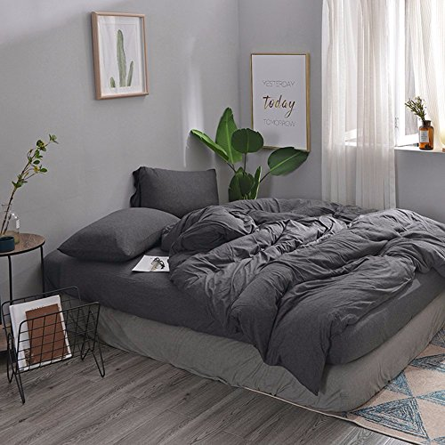 MisDress Ultra Soft Jersey Knit Cotton 3 Pieces Duvet Cover Set Soft and Durable Full Comforter Cover and Pillowcases Dark Gray Queen Size Solid Pattern Bedding Set (Comforter Set Dark)