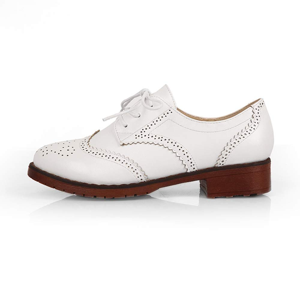 Yu Li Women's Perforated Lace-up Wingtip Leather Flat Oxfords Vintage Oxford Shoes Brogues White 38