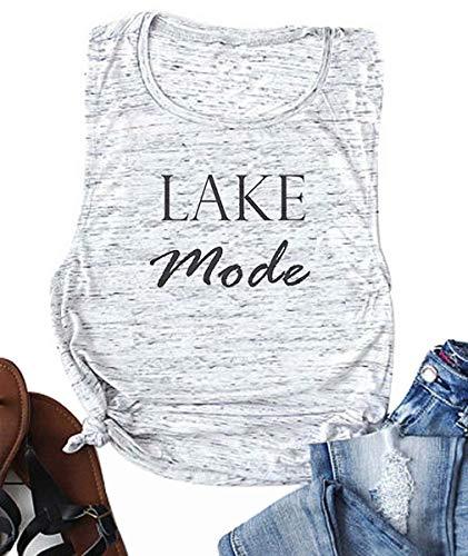 LAMOSKY Women Tank Top Lake Mode Letter Print Summer Casual Vacation T Shirt Ladies Sleeveless Vest Tees Size XL (Light Grey)