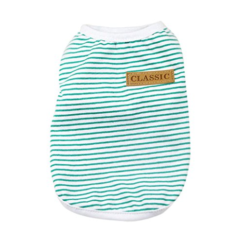 Pet Shirt, Howstar Dog Cat Clothes Puppy Classic Vest Striped T-shirt Pet Summer Apparel (Green, L)