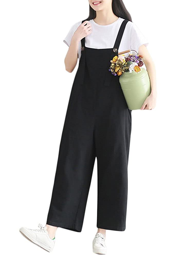 f4bc49158272 Amazon.com  Romacci Women s Strap Overall Cotton Linen Wide Leg Pants  Sleeveless Rompers Baggy Bibs Jumpsuit with Pockets (2XL