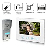 Video Doorbell [2- wires] Video Door Phone Intercom Kit Unlock Function 1-Stainless Steel Camera 1-7'' inch monitor Night Vision Touch Button Screen- No Wi-Fi & APP White