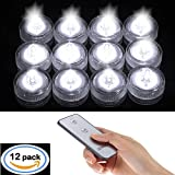 12x Submersible LED Wedding Tower Vase Tea Light with Remote candle lights by SLBSTORES Waterproof Flameless Battery Operated Reusable light for party vase base Table Centerpieces